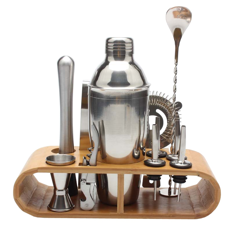 Stainless Bar Cocktail Shaker Set with Wooden Holder