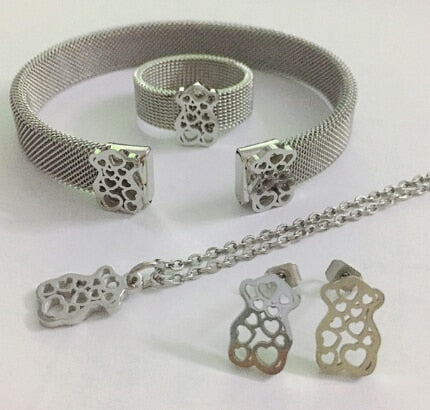 Stainless Steel Bear Jewelry Set