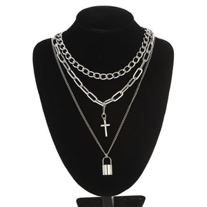 Layered Chain Necklace Lock Pendant