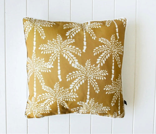 Outdoor Door Cushions - Mustard Palm - 45 cm x 45 cm