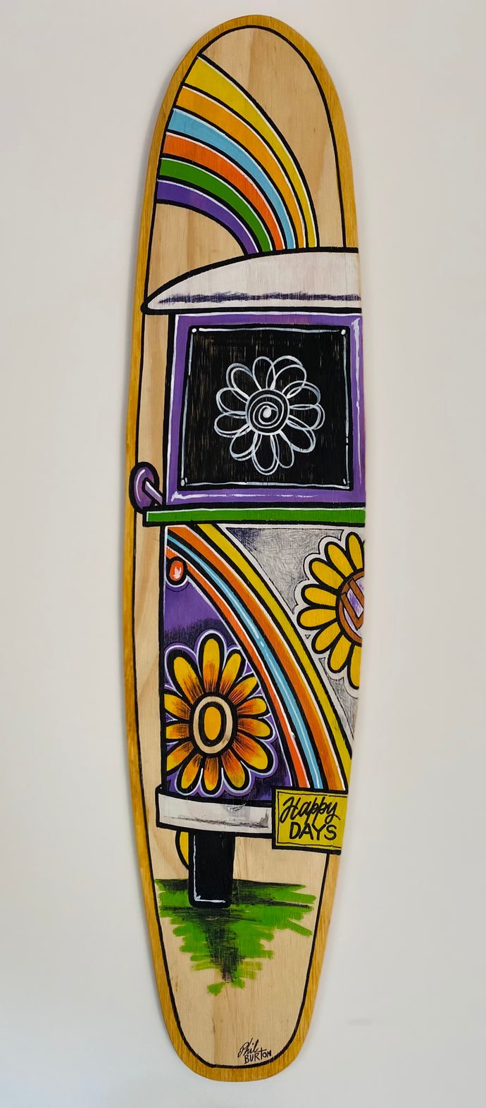 Kombi and Surf Original Handmade mini long board - vertical - approx 78 x 18 cm