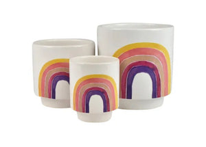 Dreams Set of 3 Rainbow Ceramic Pots - Peach