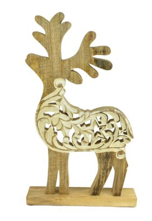 Carved Reindeer - Mango Wood 52cm x 32cm