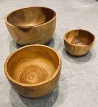 Load image into Gallery viewer, Teak Carved Bowls - Set of 3