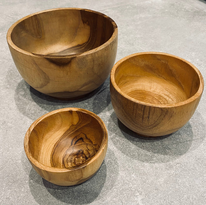 Teak Carved Bowls - Set of 3