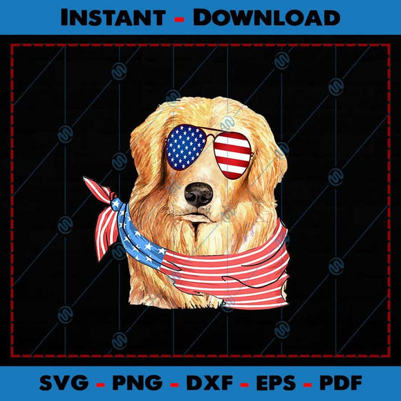 Golden Retriever Dog USA Flag Glasses SVG PNG Cutting Files