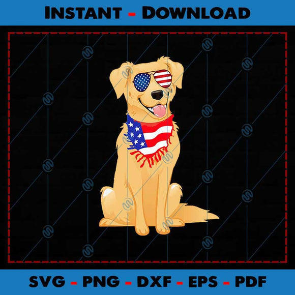 Golden Retriever USA Flag Glasses SVG PNG Cutting Files