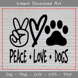 Peace Love Dogs SVG Cutting Printable Files