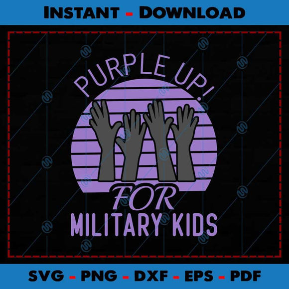 Purple Up for Military Kids SVG PNG Cutting Files