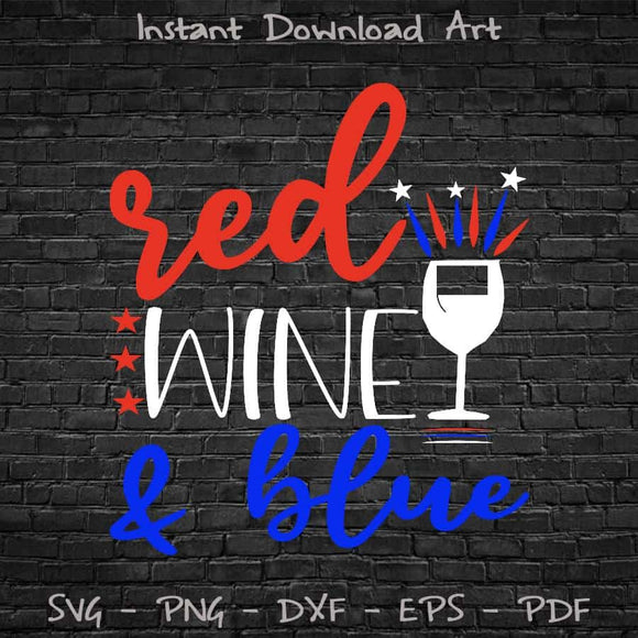 Red Wine & Blue SVG PNG Printable Files