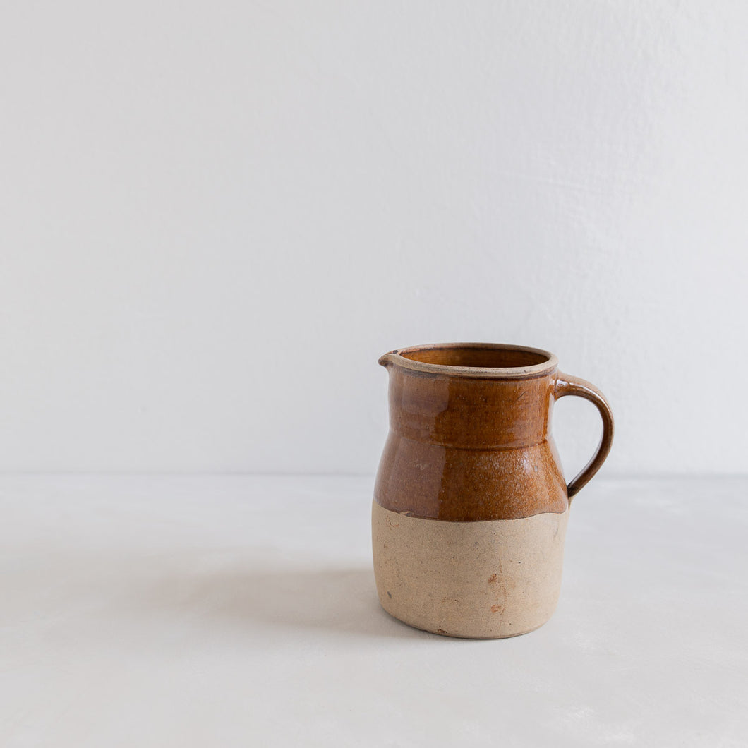 Vintage ceramic pitcher - brown glaze