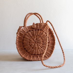 Paper straw cross body bag - rust
