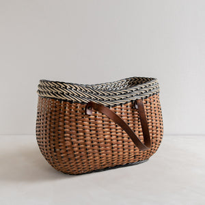 Vintage straw basket - black and white
