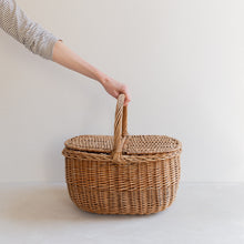 Load image into Gallery viewer, vintage straw picnic basket