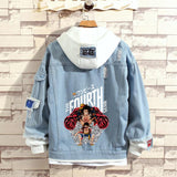Anime One Piece Cartoon Cute Luffy Denim Hoodie Jean Jackets Layered