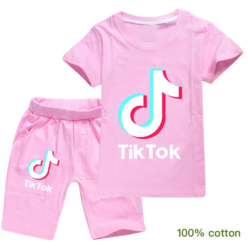 Tik Tok T Shirts Beach Shorts Two Piece Set for Kids