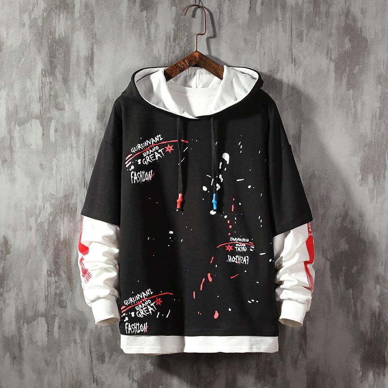 Men Letter Print Hip Hop Pullovers Hoodies