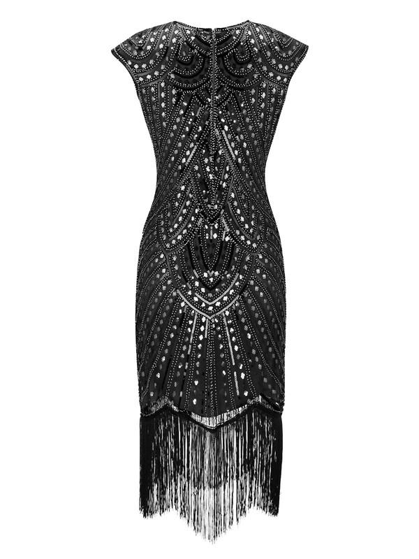 Black 1920s Sequin O-Neck Fringe Flapper Dresses