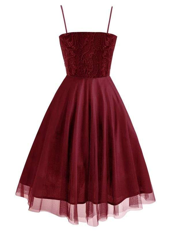 Red 1950s Spaghetti Lace Bow Swing Dress