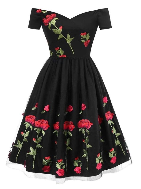 Black 1950s Rose Embroidery Dress