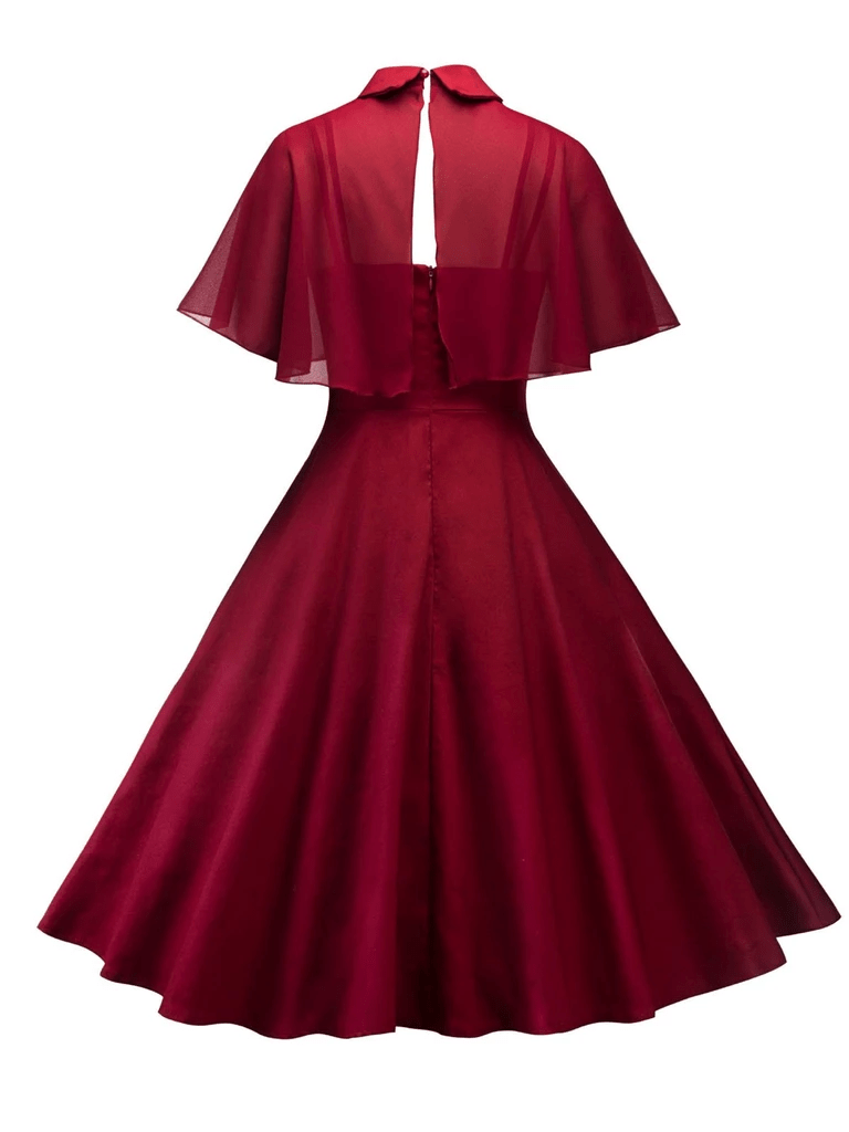 Wine Red 1950s Cape Patchwork Swing