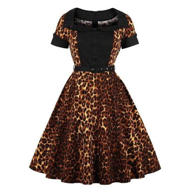 1950s Party Pinup Collared Leopard Print Midi Swing Dress-Eyegemix.com