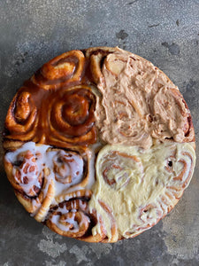 Quad-Flavoured Cinnamon Roll (Glaze, Cream Cheese, Salted Caramel & Peanut Butter)