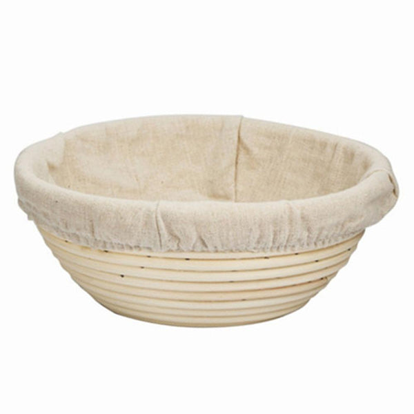 Fermenting basket from rattan cane with insert from linen