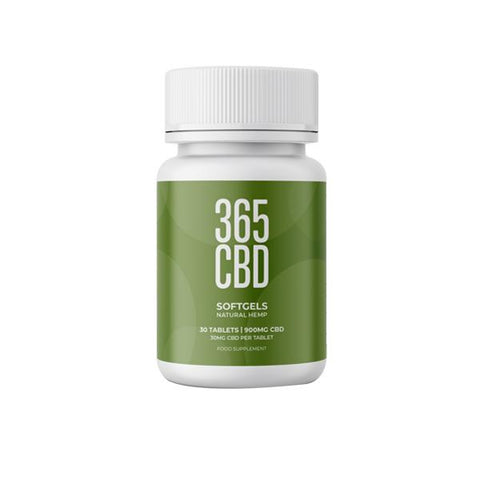 365CBD Natural Softgels 900mg CBD 30 Tablets
