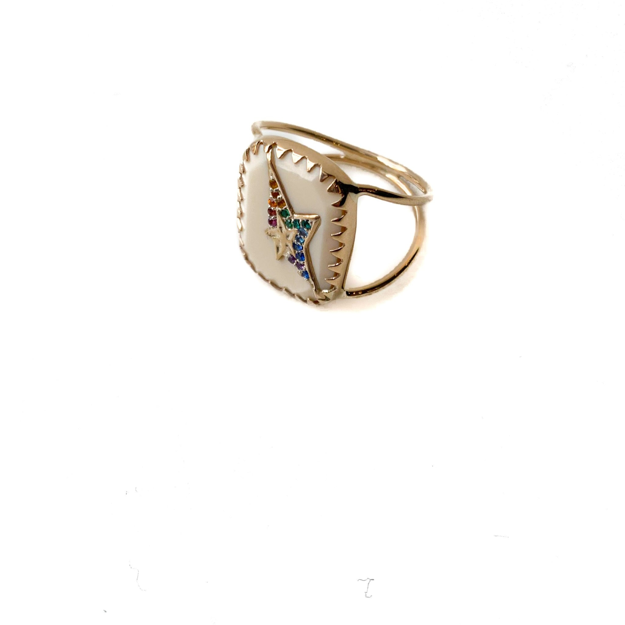 Varda N°1 Ring in White & Rainbow