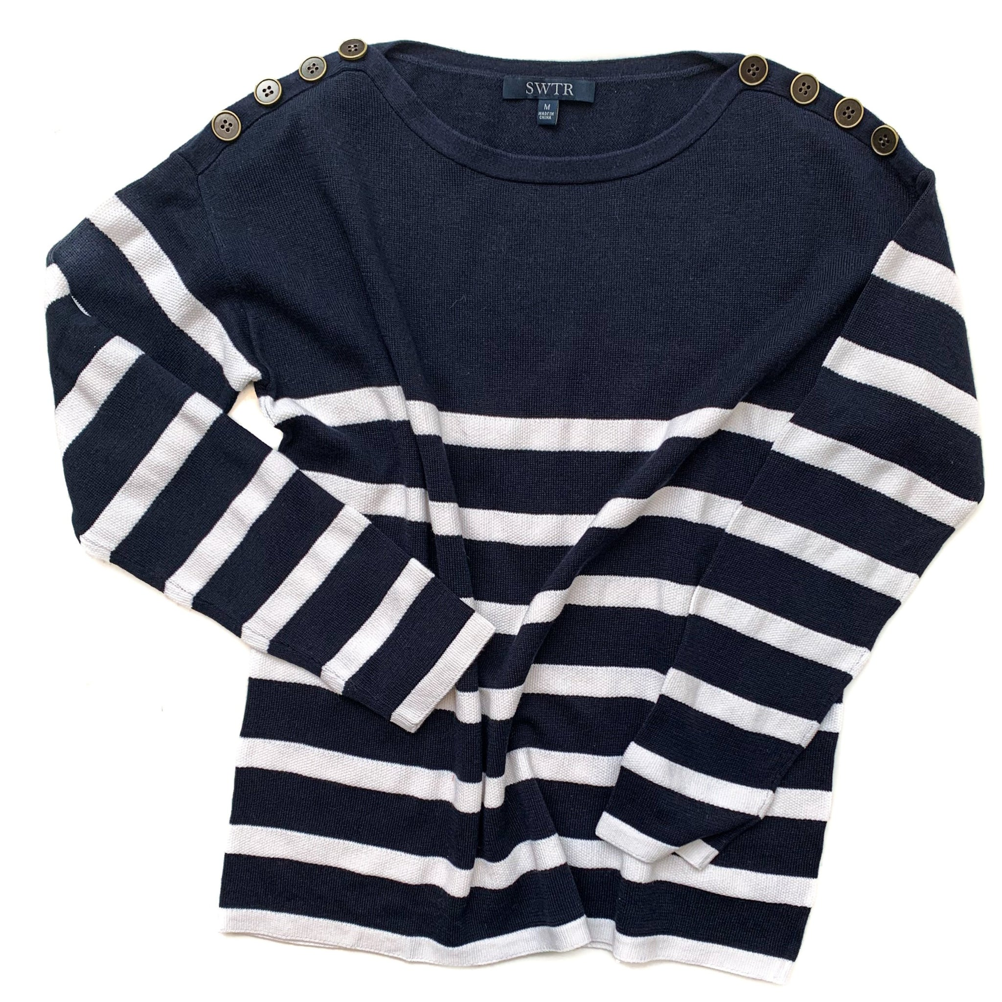 Navy & White Stripe Pullover