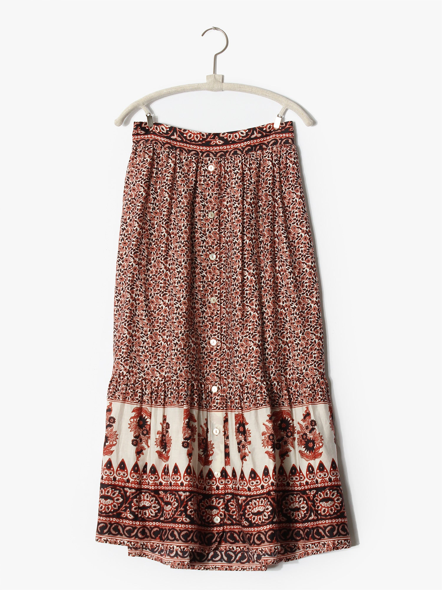Taryn Printed Skirt in Henna