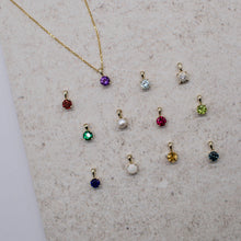 Load image into Gallery viewer, 9ct Solid Gold Personalisable Birthstone & Initial Necklace with Precious Gemstone