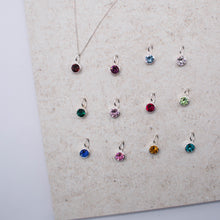Load image into Gallery viewer, Sterling Silver Birthstone & Initial Pendant Necklace