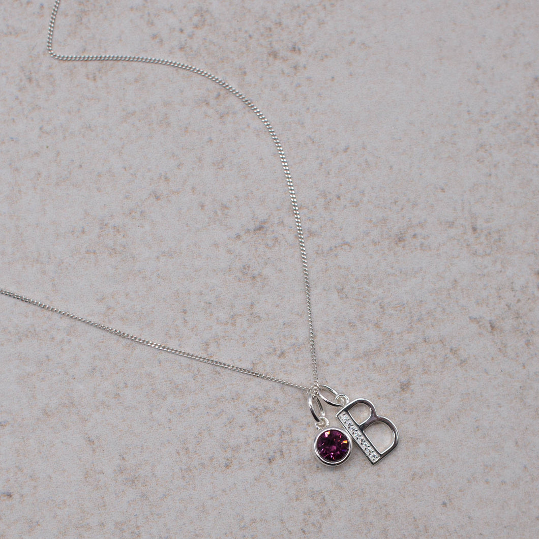Sterling Silver Birthstone & Initial Pendant Necklace