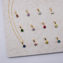Load image into Gallery viewer, Personalisable Gold Vermeil Initials & Birthstone Necklace