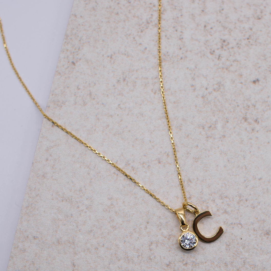 Personalisable Gold Vermeil Initials & Birthstone Necklace