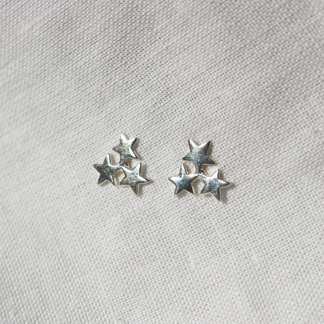Dainty Star Cluster Stud Earrings in Gold or Silver