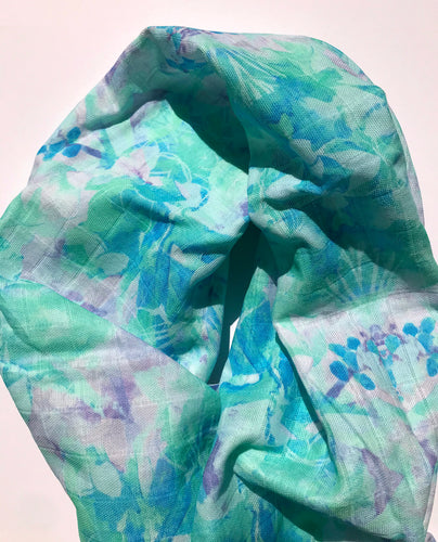 Blue Aloha Blooms Infinity scarf