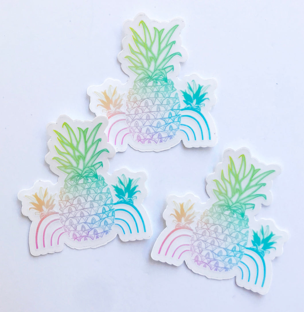 Rainbow Pineapple Logo Sticker