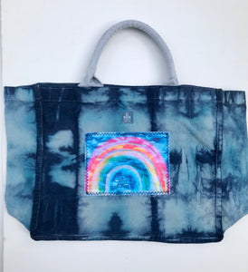 "Hand Dyed, ""Rainbow"" Large Tote Bag"