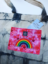 "Load image into Gallery viewer, Hand Dyed, ""Rainbow + Hibiscus"" Medium Tote Bag"