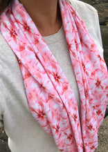 Load image into Gallery viewer, Coral Hibiscus Infinity Scarf