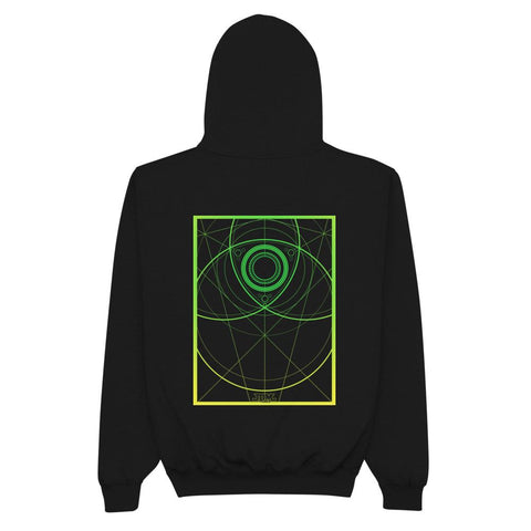 "JDM Champion® Men's Hoodie - ""Rotary Green"" Style black back"