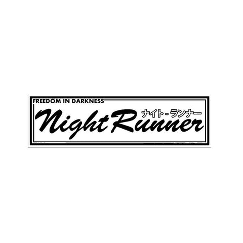 """Night Runner - Freedom in the Darkness"" Stickers Black Adhesive"