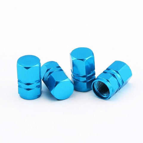 """Hexagonal Cyan Blue"" Aluminum Alloy Tire Valve Caps JDM"