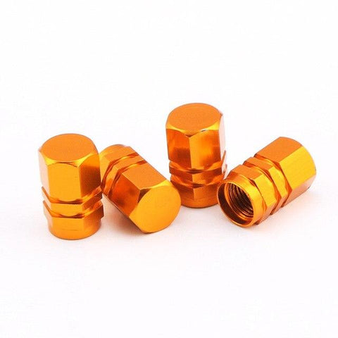 """Hexagonal Orange"" Aluminium Alloy Tyre Valve Caps  JDM"
