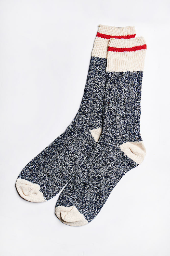 Blair Crew Socks in Navy-Cream - ALAMAE