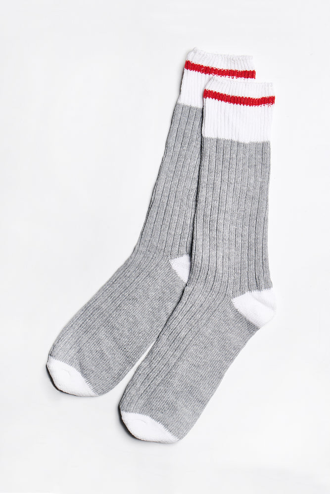 Load image into Gallery viewer, Blair Crew Socks in Light-Grey-White - ALAMAE