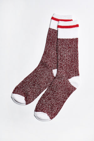 Load image into Gallery viewer, Blair Crew Socks in Burgundy-White - ALAMAE